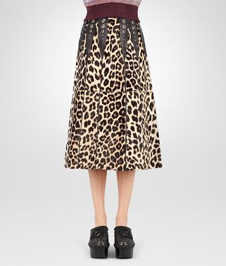 豹纹印花小牛毛饰金属索环细节半身裙