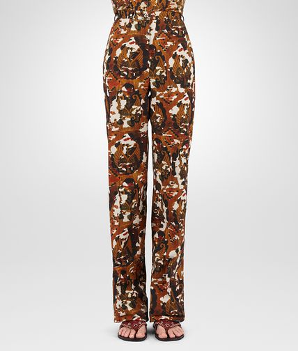TROUSERS IN MULTICOLOUR PRINTED COTTON GABARDINE