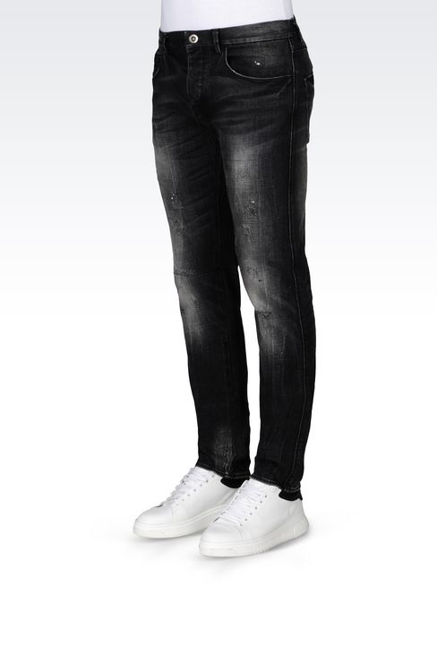 Emporio Armani Men SKINNY BLACK WASH JEANS Cotton - Armani.com