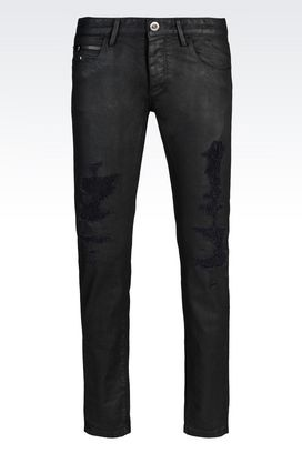Armani Jeans Men skinny fit black wash jeans