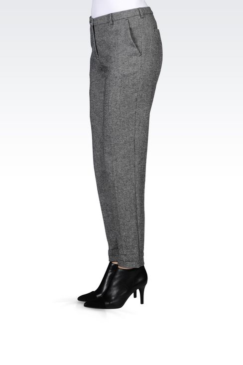 WOOL BLEND TROUSERS: Straight leg trousers Women by Armani - 3