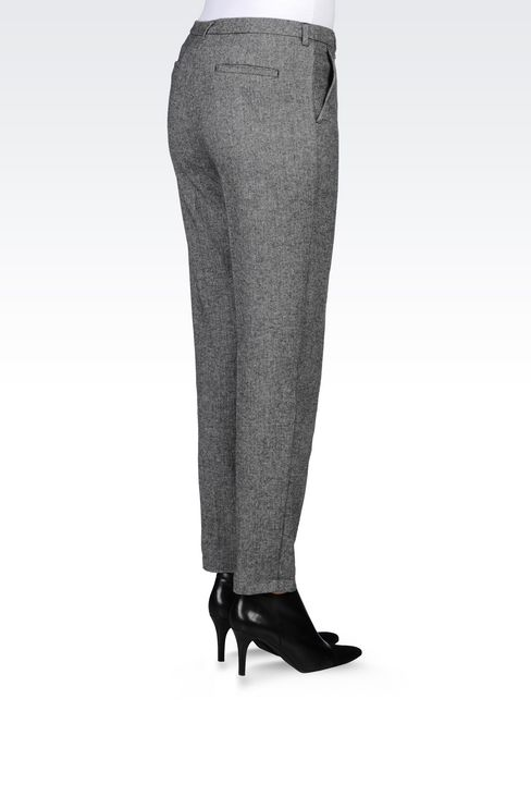 WOOL BLEND TROUSERS: Straight leg trousers Women by Armani - 4