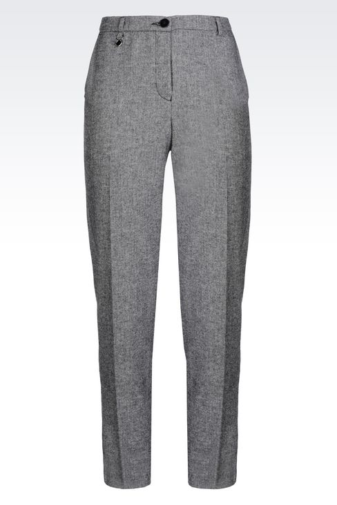 WOOL BLEND TROUSERS: Straight leg trousers Women by Armani - 1