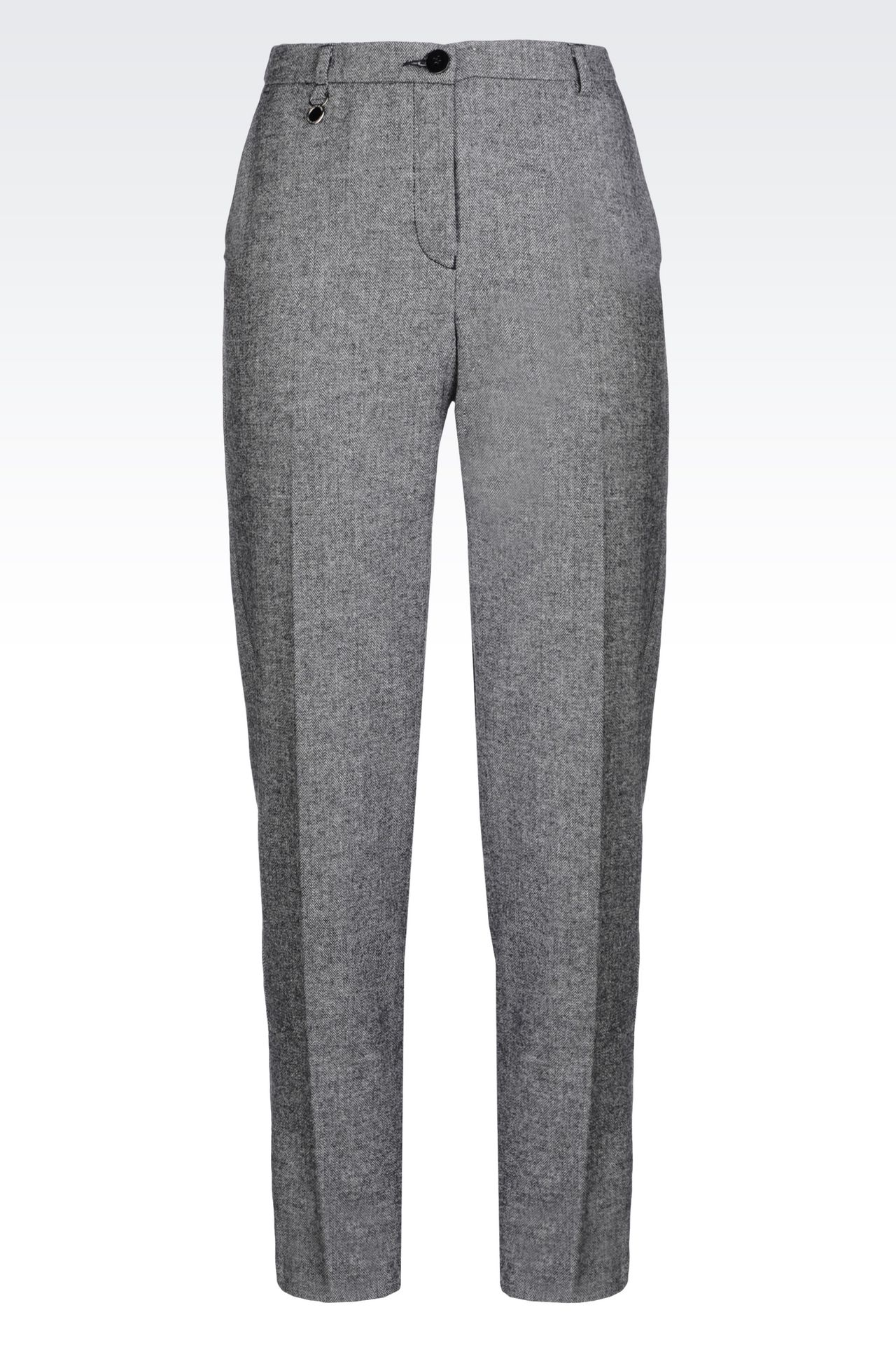 WOOL BLEND TROUSERS: Straight leg trousers Women by Armani - 0