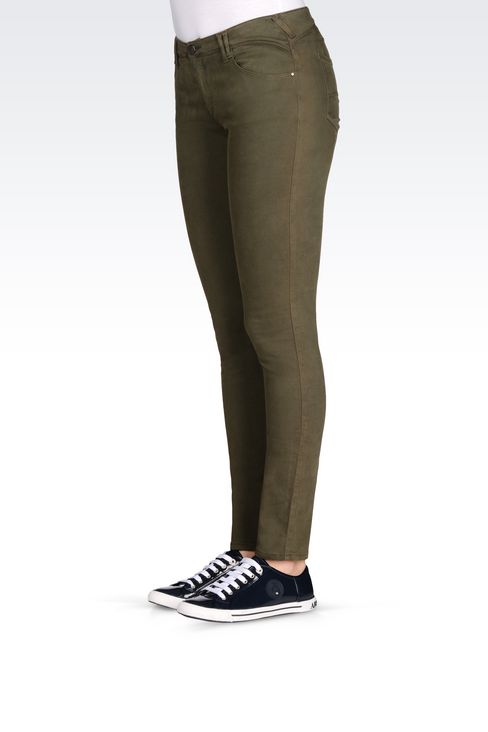 SKINNY FIT 5-POCKET TROUSERS IN SATIN: 5 pockets Women by Armani - 3