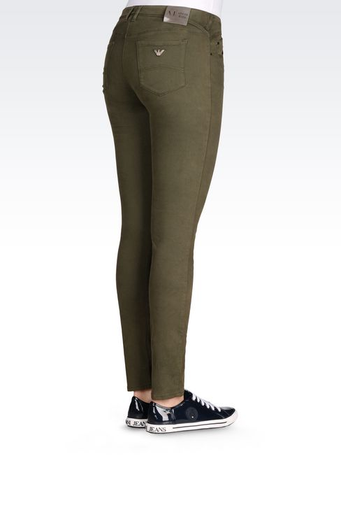 SKINNY FIT 5-POCKET TROUSERS IN SATIN: 5 pockets Women by Armani - 4