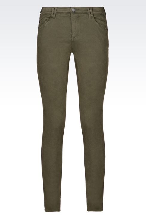 SKINNY FIT 5-POCKET TROUSERS IN SATIN: 5 pockets Women by Armani - 1