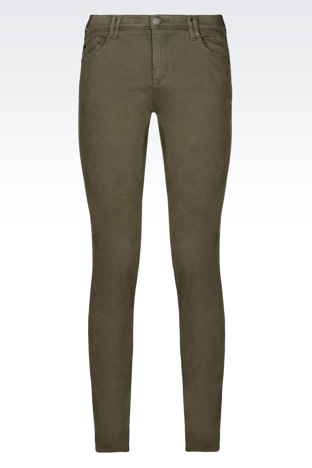 SKINNY FIT 5-POCKET TROUSERS IN SATIN: 5 pockets Women by Armani - 0