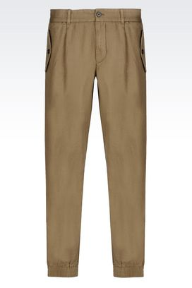 Armani Pants with tucks Men regular fit trousers in cotton and linen