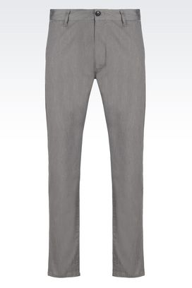 Armani Straight leg pants Men slim fit trousers in cotton canvas