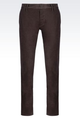 Armani Straight leg pants Men slim fit trousers in cotton satin