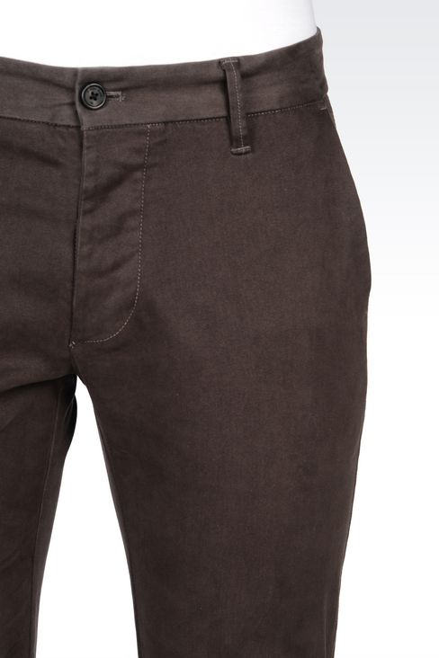 SLIM FIT TROUSERS IN COTTON SATIN: Straight leg trousers Men by Armani - 5