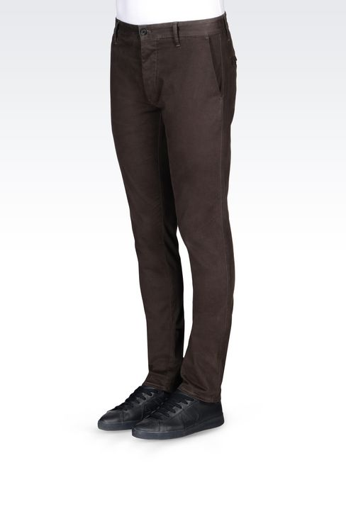 SLIM FIT TROUSERS IN COTTON SATIN: Straight leg trousers Men by Armani - 3