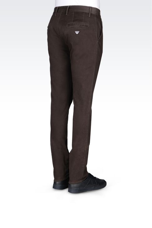 SLIM FIT TROUSERS IN COTTON SATIN: Straight leg trousers Men by Armani - 4