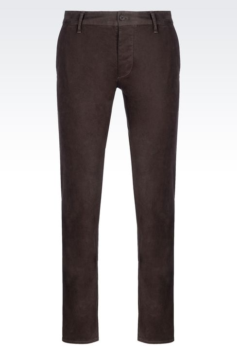 SLIM FIT TROUSERS IN COTTON SATIN: Straight leg trousers Men by Armani - 1