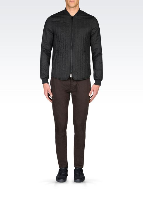 SLIM FIT TROUSERS IN COTTON SATIN: Straight leg trousers Men by Armani - 2