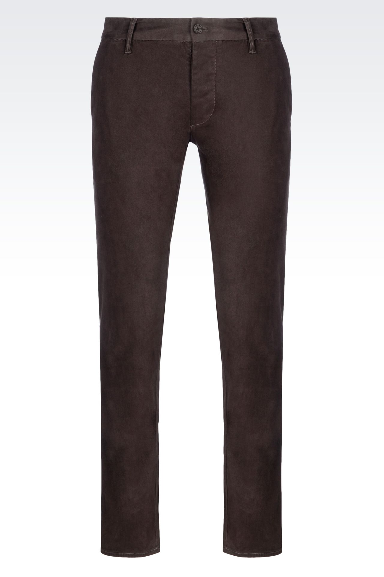 SLIM FIT TROUSERS IN COTTON SATIN: Straight leg trousers Men by Armani - 0