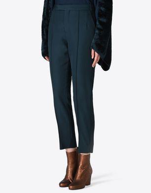 Cropped virgin wool trousers