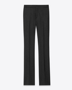 Classic 70's Flared Trouser in Black Striped Wool Flannel