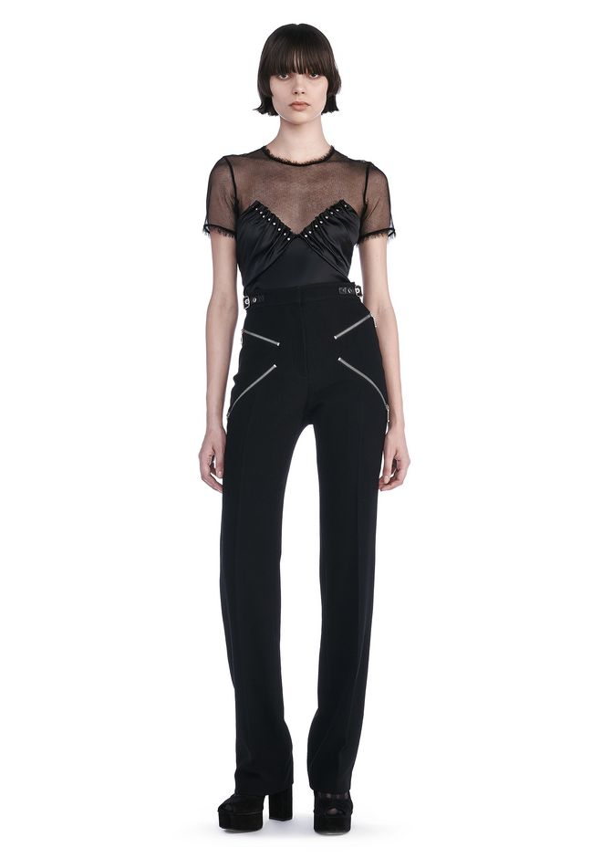 "ALEXANDER WANG PANTS BOOT CUT TROUSERS WITH ""X' ZIPPER DETAIL"