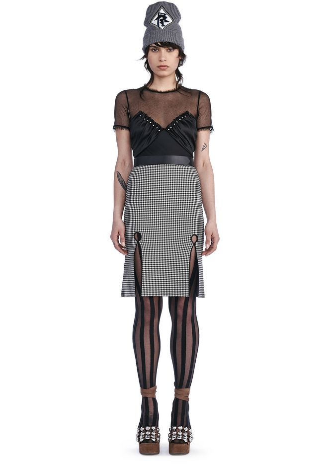 ALEXANDER WANG SKIRTS FITTED GINGHAM PENCIL SKIRT