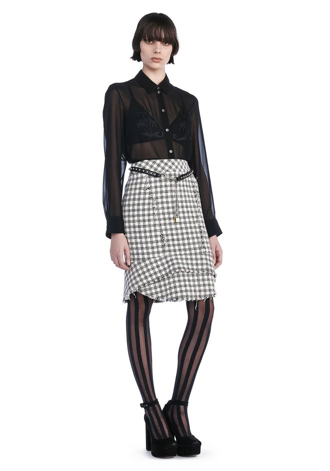 ALEXANDER WANG SKIRTS TWEED PENCIL SKIRT WITH PEPLUM HEM