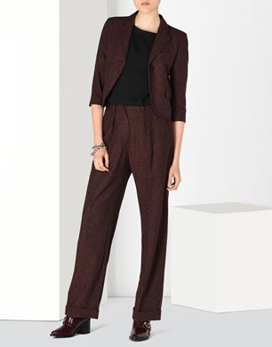 High waisted tweed trousers
