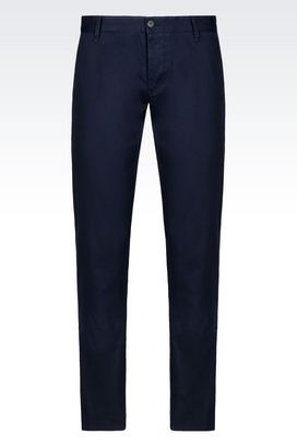 Armani Chinos Men slim fit trousers in stretch cotton twill