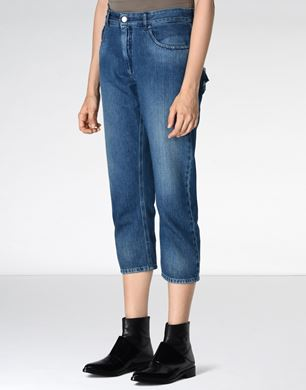 Cropped jeans with deconstructed pockets
