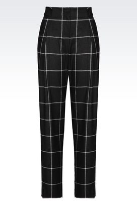 Armani Pants with tucks Women trousers in checked viscose blend
