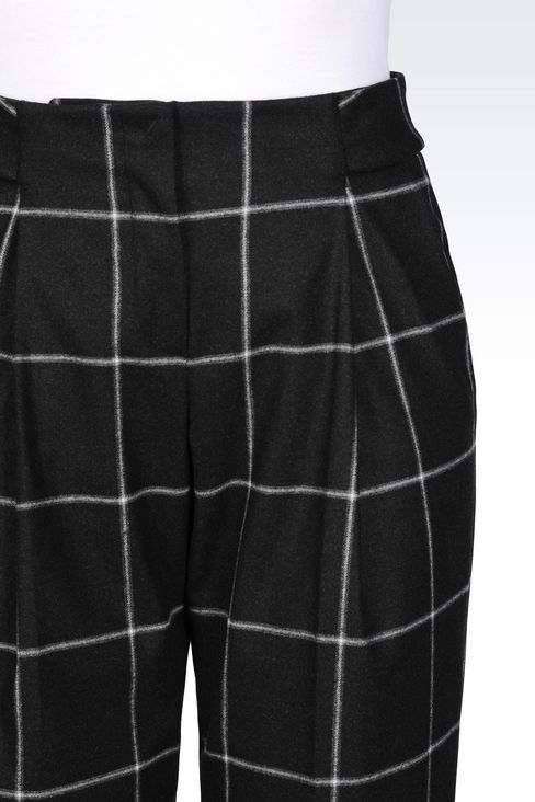 TROUSERS IN CHECKED VISCOSE BLEND: Trousers with tucks Women by Armani - 5