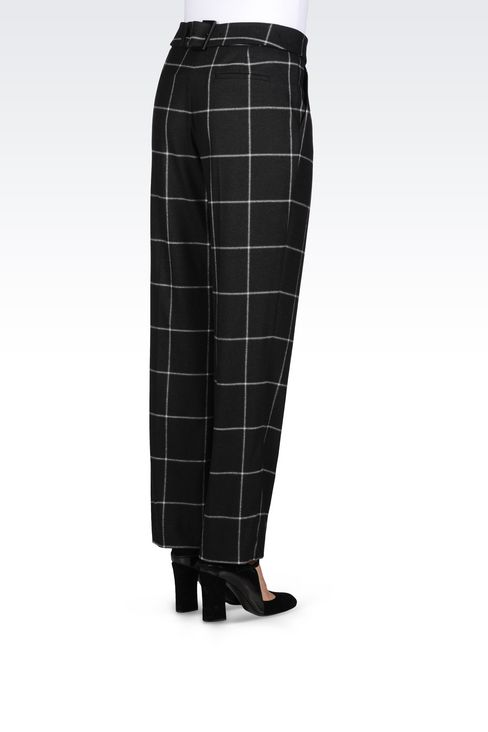 TROUSERS IN CHECKED VISCOSE BLEND: Trousers with tucks Women by Armani - 4