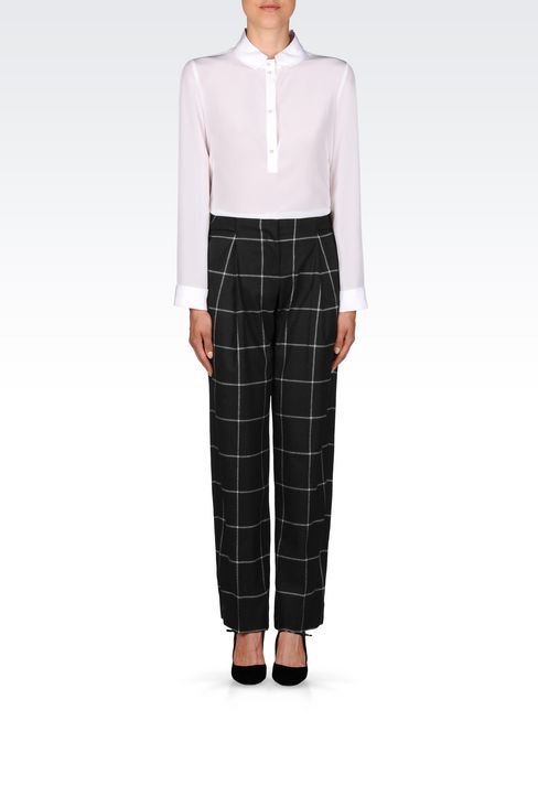 TROUSERS IN CHECKED VISCOSE BLEND: Trousers with tucks Women by Armani - 2