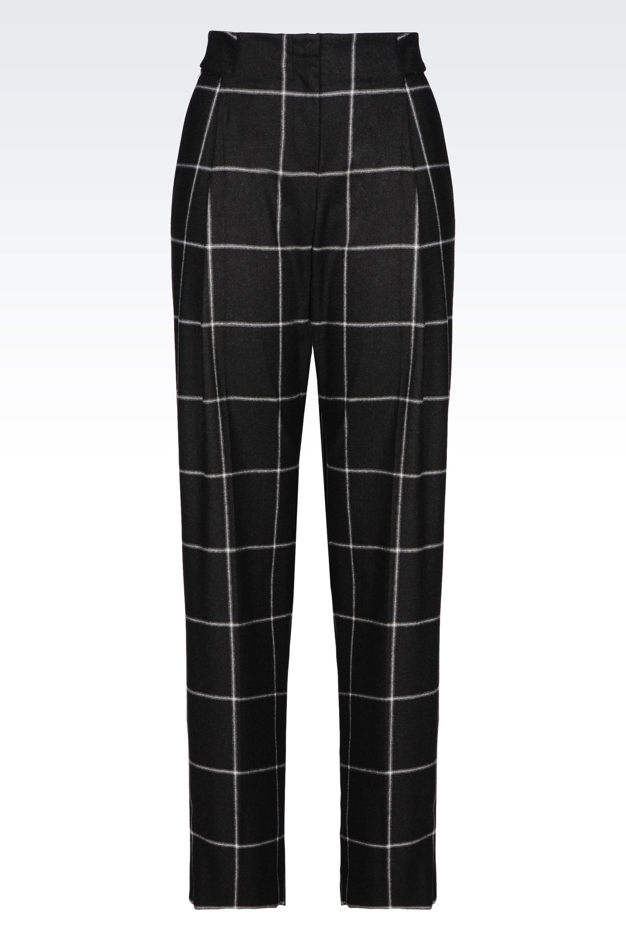TROUSERS IN CHECKED VISCOSE BLEND: Trousers with tucks Women by Armani - 0