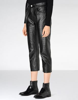Cropped coated canvas trousers