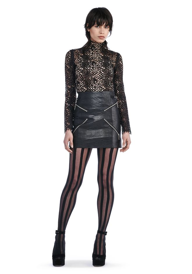 "ALEXANDER WANG Skirts MINI SKIRT WITH ""X"" ZIPPER DETAIL"