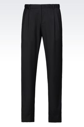 Armani Pants with tucks Men worsted wool trousers