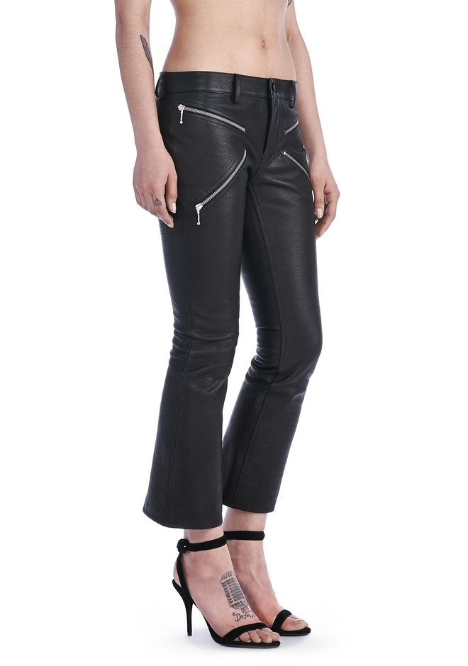 "ALEXANDER WANG PANTS Women CROPPED BOOTCUT PANTS WITH""X"" ZIPPER DETAIL"