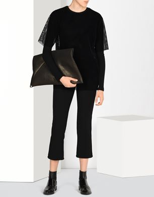 Cropped technical jersey trousers