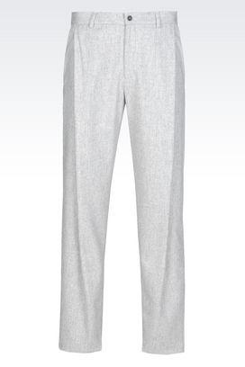 Armani Pantaloni con pince Uomo pantalone di sfilata in  flanella