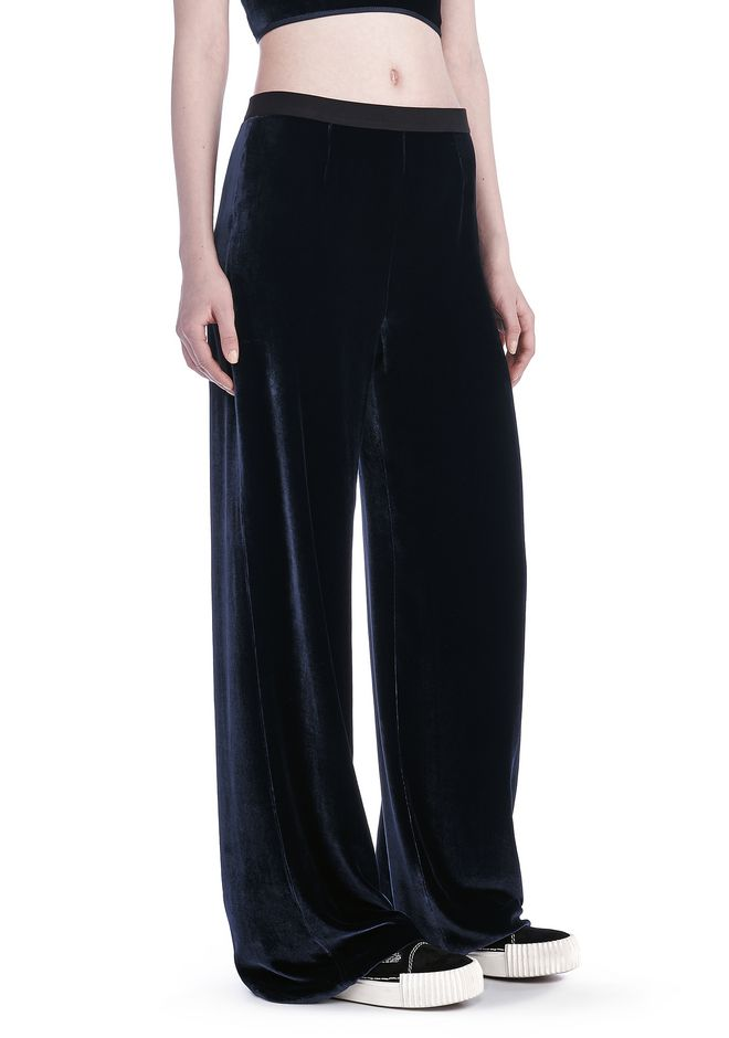 T by ALEXANDER WANG PANTS Women SILK VELVET WIDE LEG PANTS