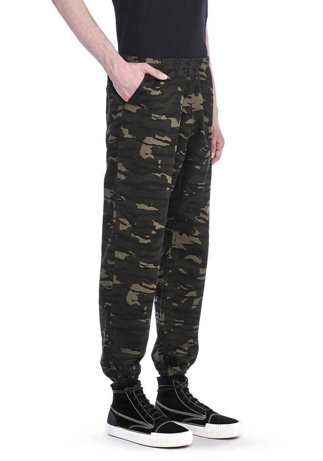 ALEXANDER WANG PANTS Men RUNWAY ELASTICATED CAMO CHINOS WITH STRICT EMBROIDERY