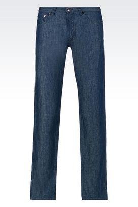 Armani Pantaloni 5 tasche Uomo jeans skinny in denim di cotone e lino