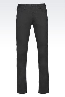 Armani 5 pockets Men slim fit trousers in cotton satin