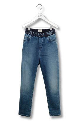 Armani 5 pockets pants Men 5 pocket jeans with elastic waistband logo