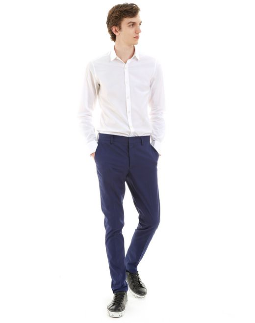 lanvin royal blue slim-fit chino pants men