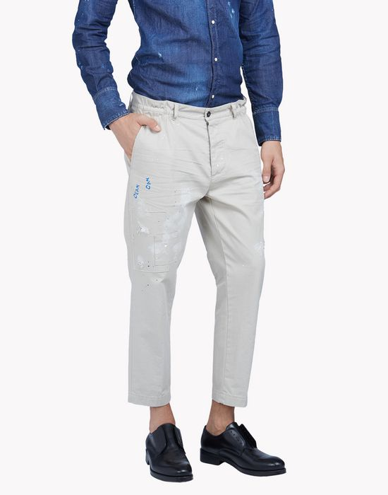 cropped cotton chinos pantaloni Uomo Dsquared2