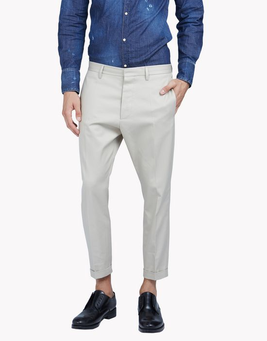 cropped cotton hockney pants pantalones Hombre Dsquared2