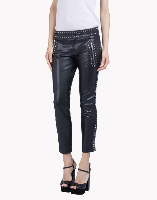 studded leather pants trousers Woman Dsquared2