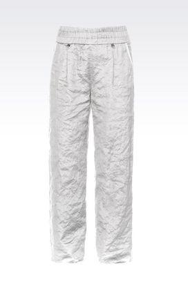 Armani Pantaloni Donna pantaloni in raso stropicciato di cotone e seta